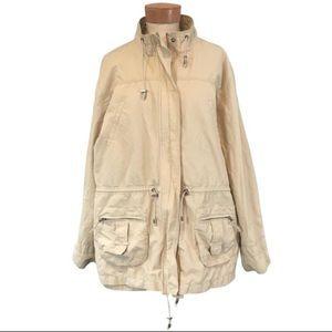 Chico's Drawstring Khaki Field Jacket